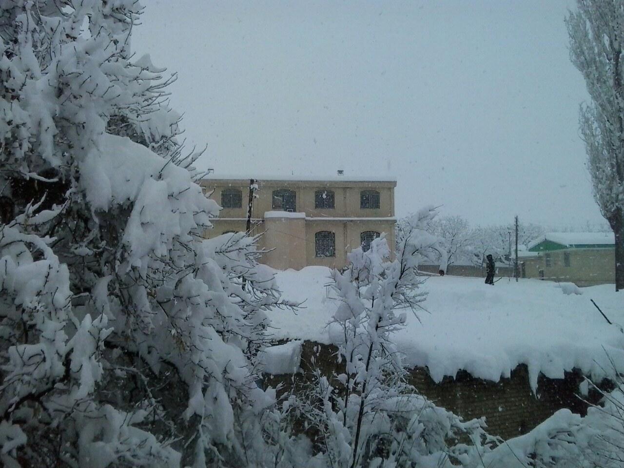 بارش برف در روستای ننیز علیا